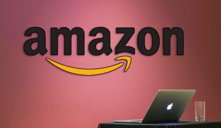 amazon leadership principles logo and laptop